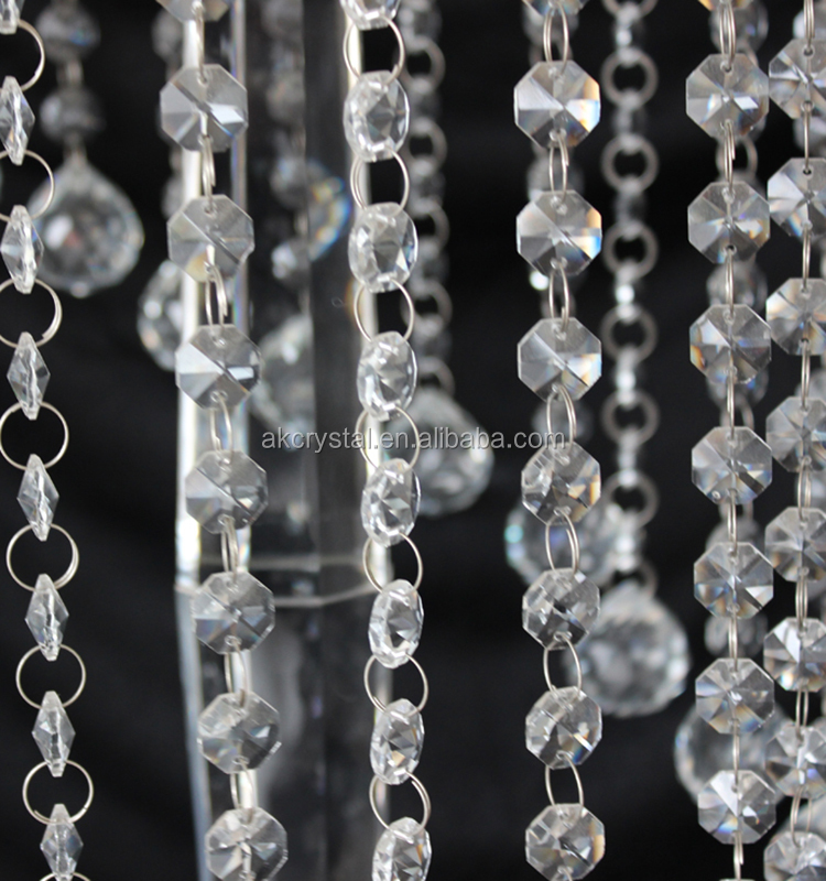 Event party supplies, romantic crystal flower stand hanging beads crystal centerpieces for wedding table