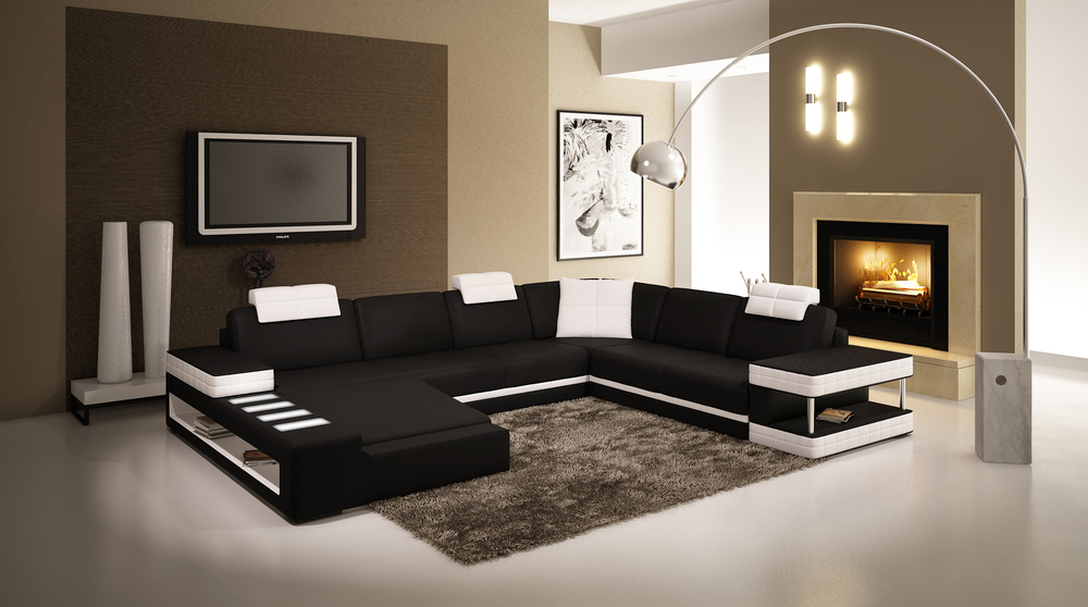 Corner Living Room Sofa Sectional Couch With LED Light