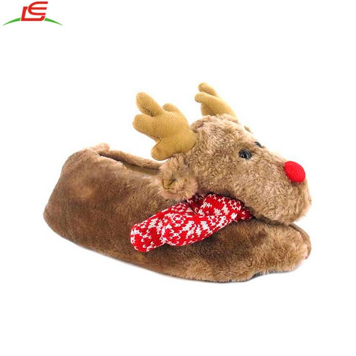 Plush Winter Reindeer Indoor Christmas Kids Slippers - Buy Winter ...