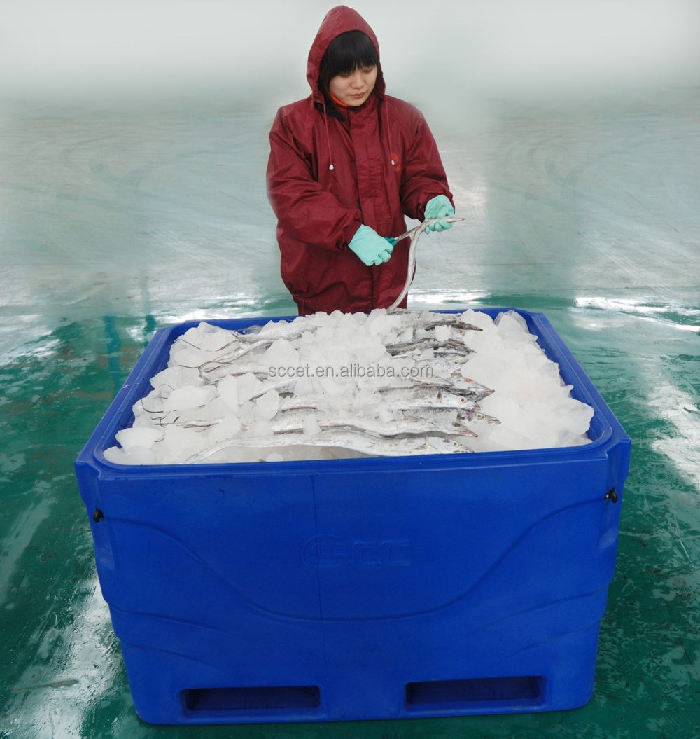 Plastic Fish Box With Forklift Slots Frozen Fish Transport