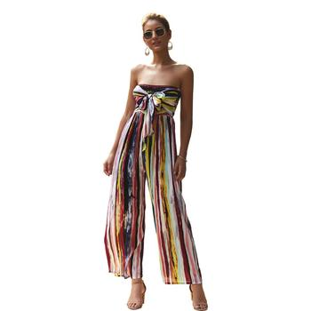 women fashion strapless striped gothic  long pants jumpsuit streetwear