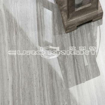 Polished Grey Color Wood Grain Travertine Porcelain Tile For Coffee Shop Floor