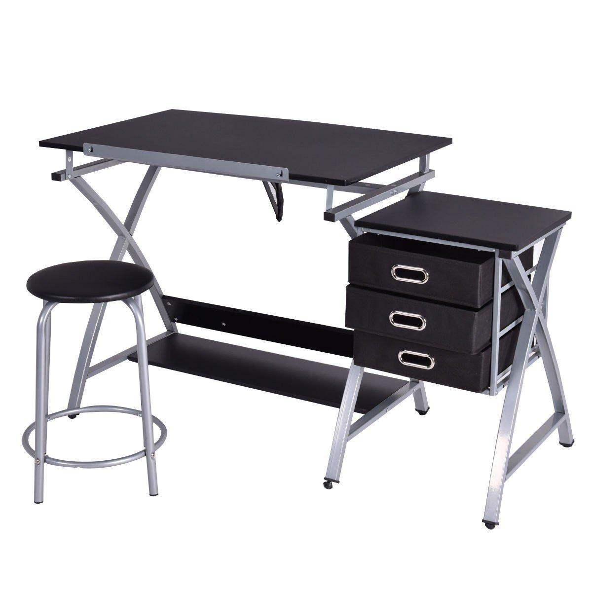 Black/Pink Adjustable Drafting Table Drawing Desk w/Stool - Pink