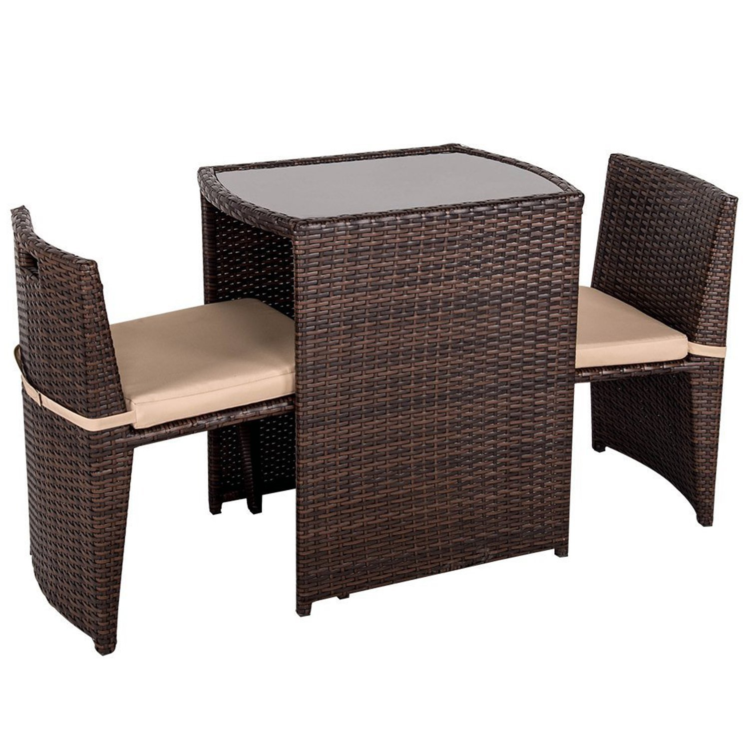 Outdoor Patio Furniture Set 3 Pieces Wicker Patio Set with Cushions Table & Two Chairs Brown Finish and Tan Cushions Outdoor Furniture Lawn Rattan Garden Set