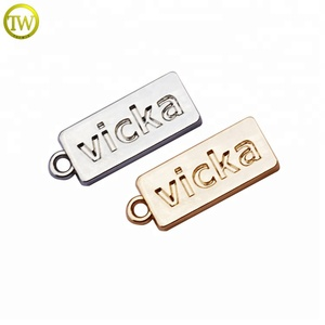 Custom rectangle shape engraved brand logo metal tags for jewelry