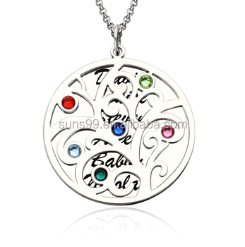 eed3cc68b8e4 Gold Plated Stainless Steel Birthstone Necklace Custom Design Family Tree  Pendant Necklace With Birthstone Silver