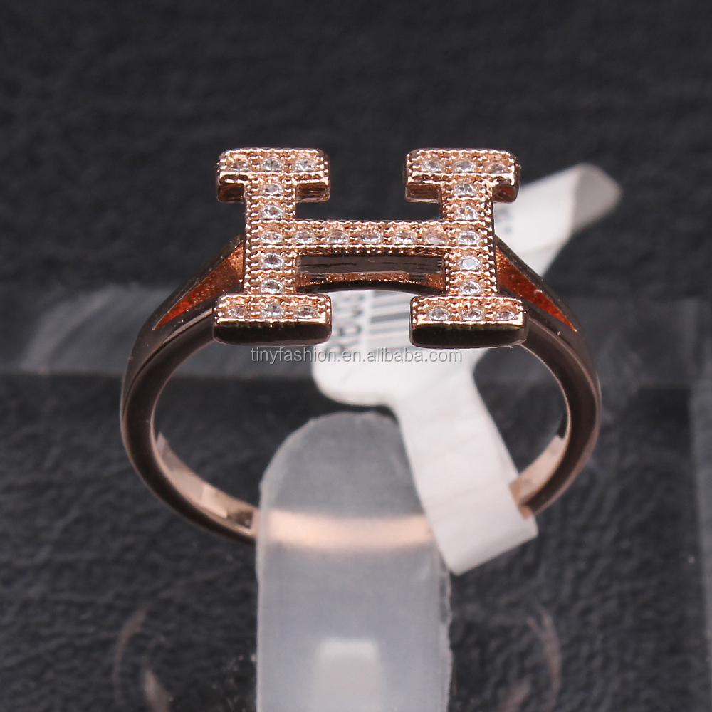 2016 latest design cubic zircon micro paved ring rose gold minimalist H alphabet letter ring