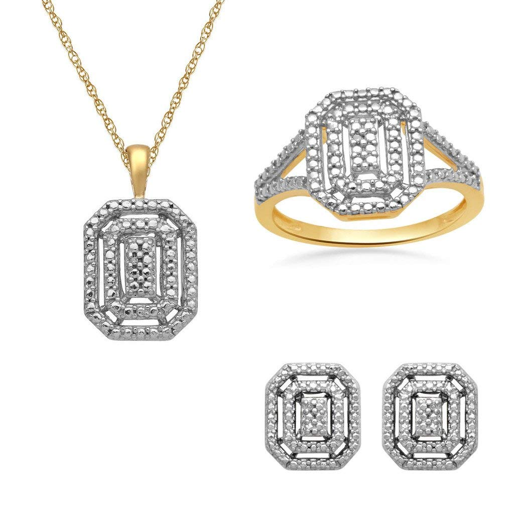 Jewelili 18K Yellow Gold Plated Sterling Silver Diamond Accent Halo Pendant Necklace, Ring And Stud Earrings Box Set, Size 7