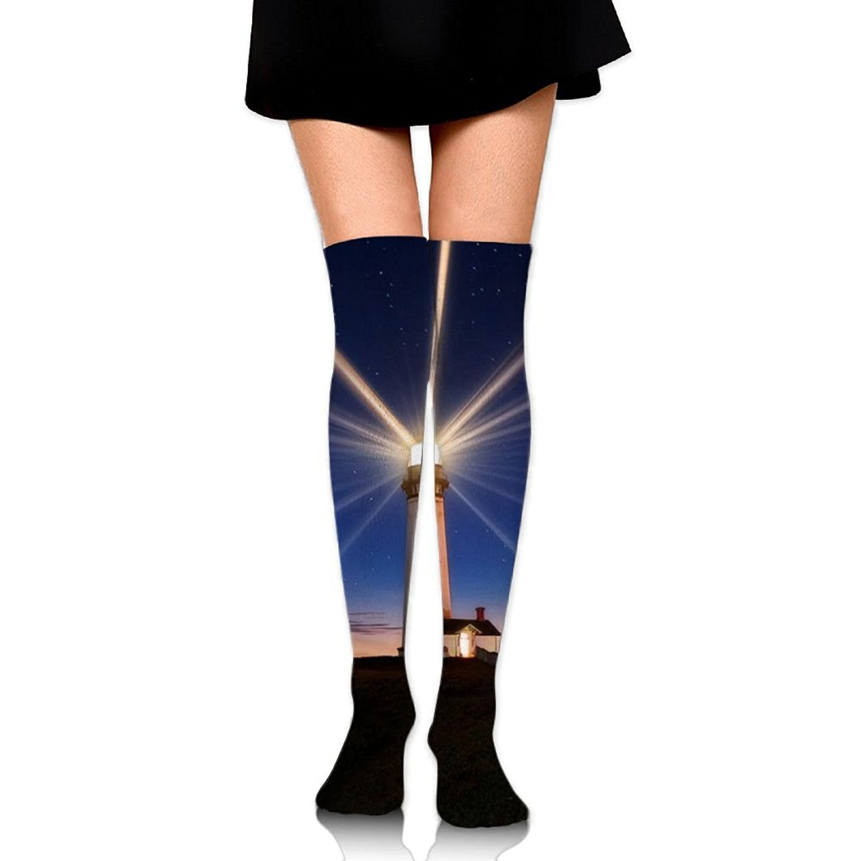 Zaqxsw Lighthouse Women Vintage Thigh High Socks Cotton Socks For Ladies