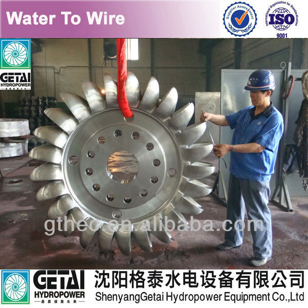 Anti-erosion casted/casting pelton wheel turbine a eau turbine generator made in china from shenyang getai