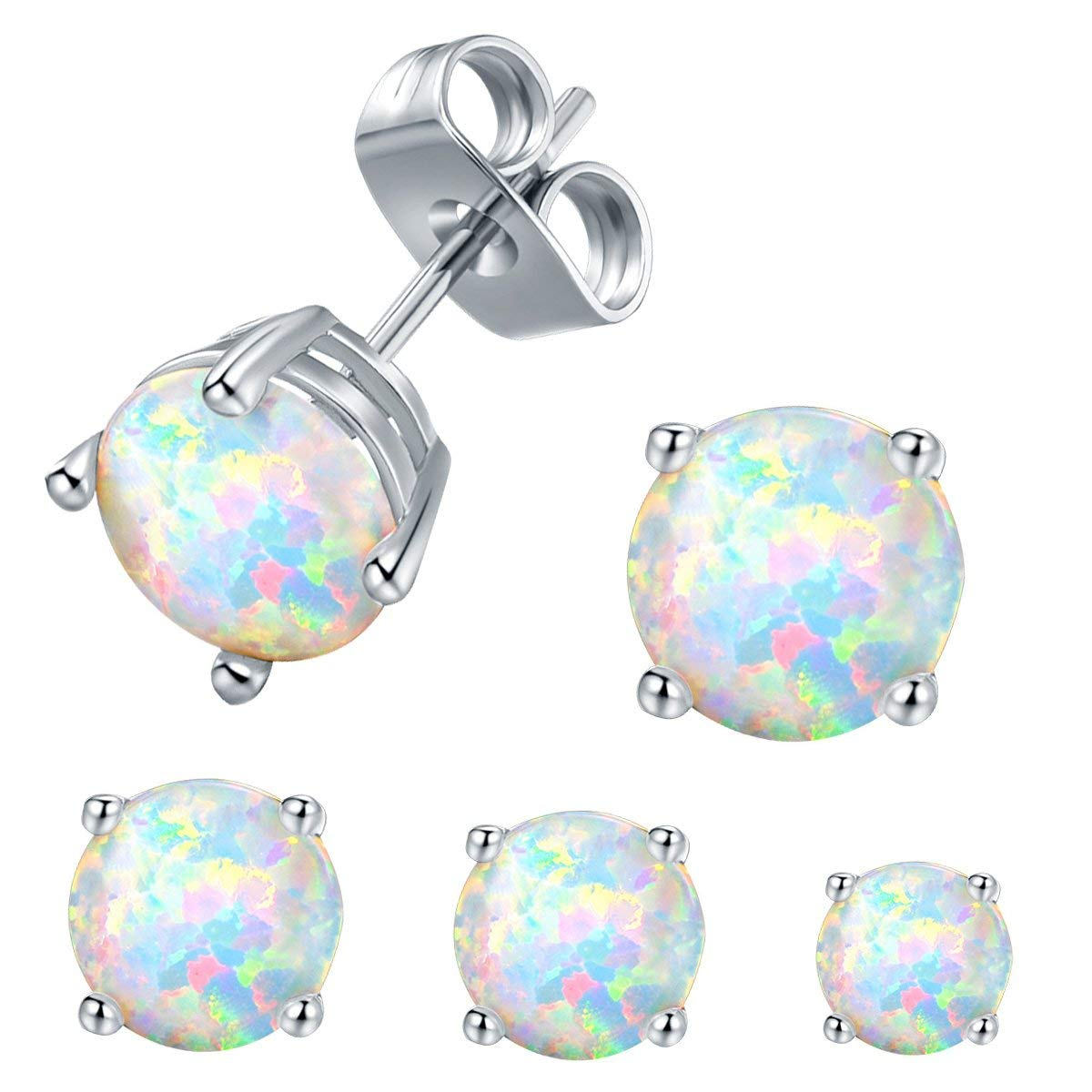 71300cf62 Get Quotations · VOLUKA Opal Stud Earrings 18K White Gold Plated for Womens  Sensitive Ears 3 Pairs 3/