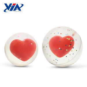 Valentine's promotional 3D heart 45mm clear bouncing ball toy