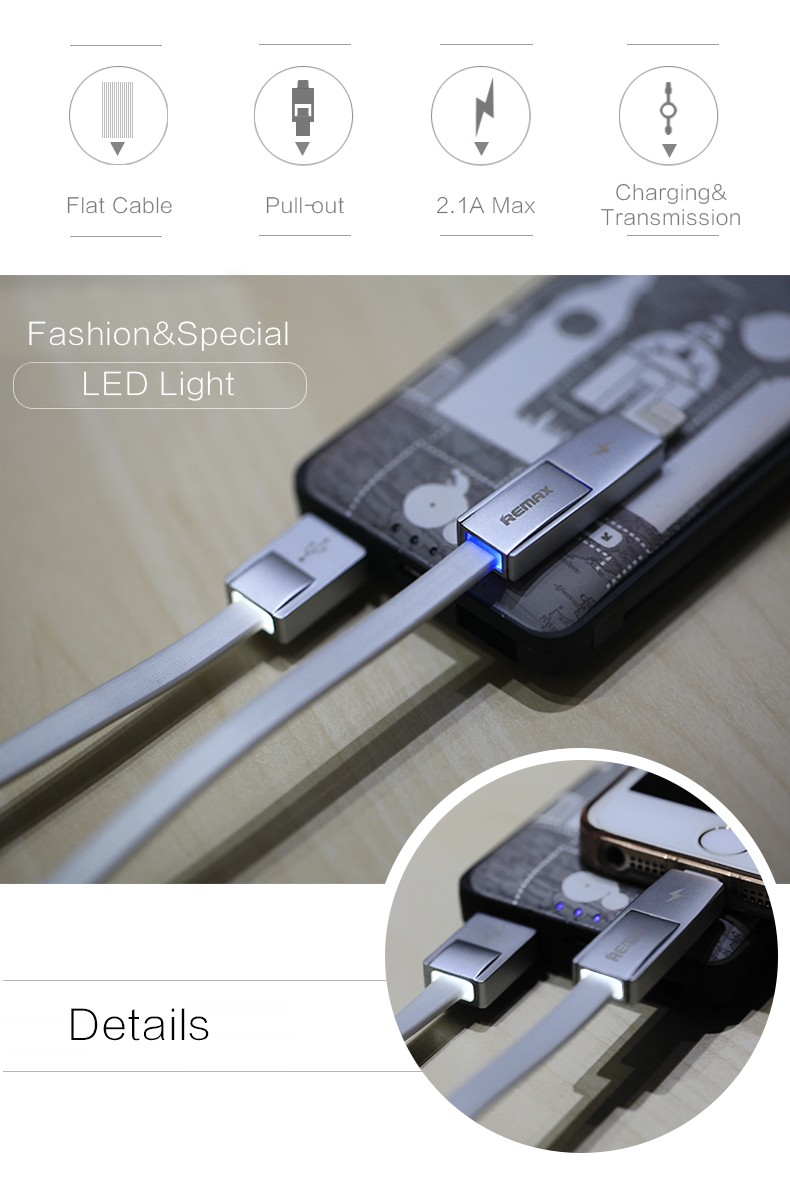 Remax Strive 2 in 1 usb charging data cable for android and IOS mobile phone