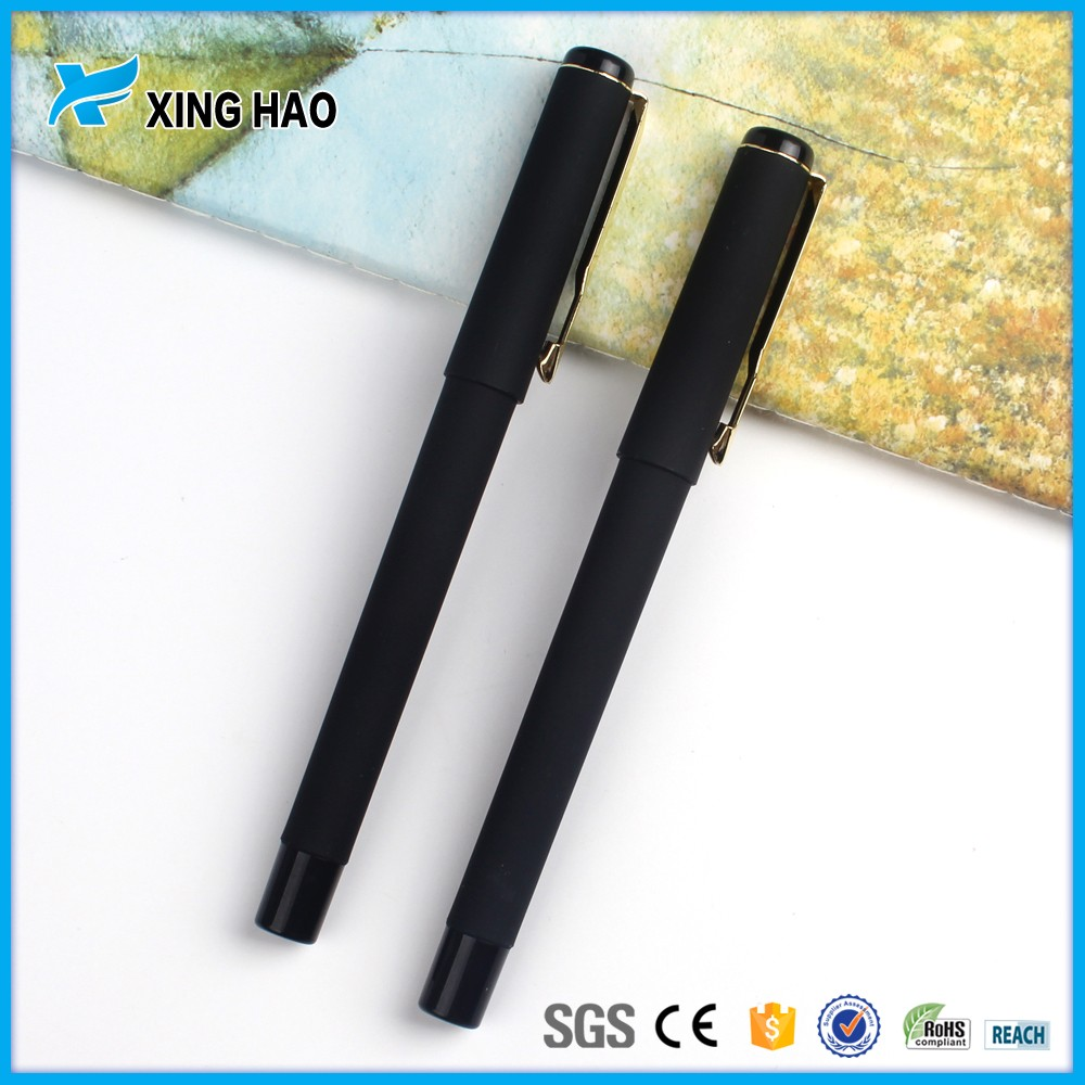 Custom logo plastic promotional black ink gel pen free samples good writing gel ink pen