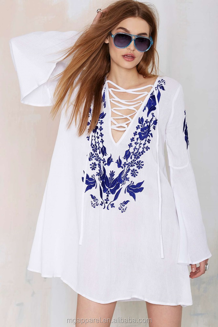 54e5978509a New Look Lace-up Plus Size Embroidered White Dress Bell Sleeves ...