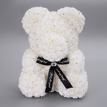 New Year Valentines Gifts Rhinestone Rose Flower Teddy Bear Artificial Foam Soap Rose With Bear in Box