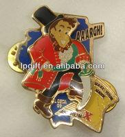 3D epola badges Zinc Alloy pin badge hard enamel gold plated sand discharging zinc alloy metal craft enamel