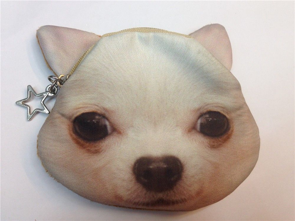 Wholesale animal shaped coin purse dog face coin purse