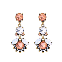 Fashion Jewelry 2019 Statement Wedding Rhinestone Earring Peach Crystal Drop Earrings