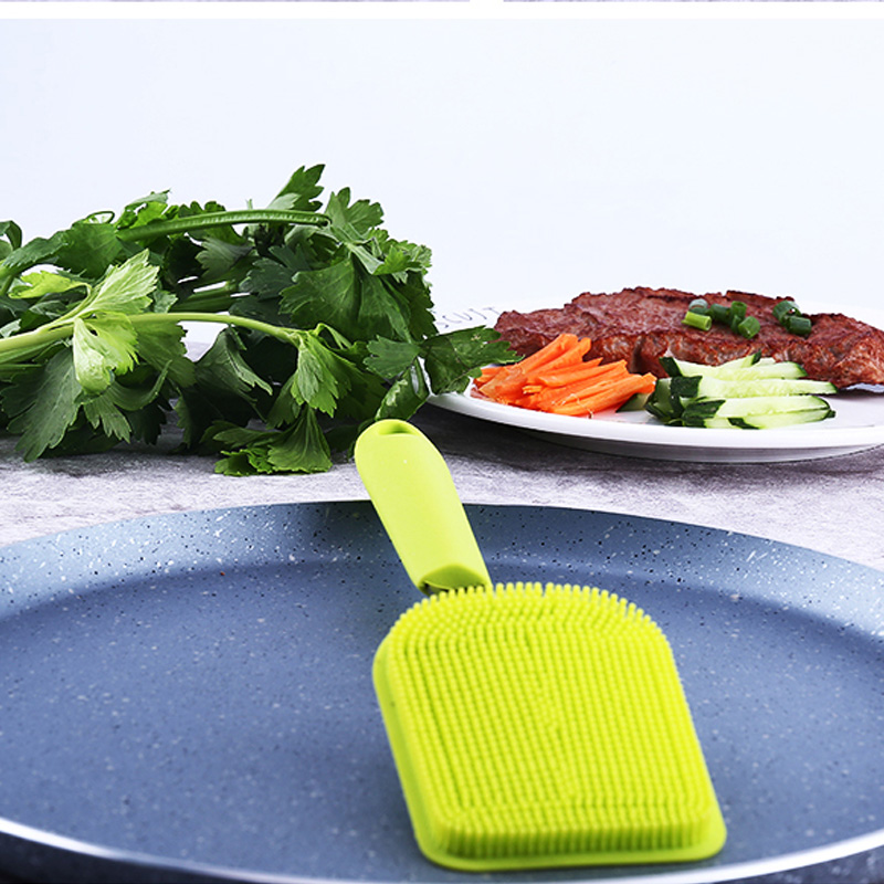 Long Handle Silicone Pot Pan Cleaning Brush Dish Bowl Scrubber Cleaner