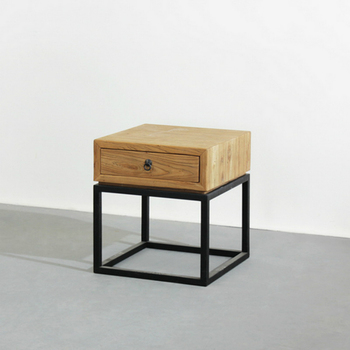Side Table Met Lade.Vintage Style Metal Wood Top Side Table Movable Coffee Table With