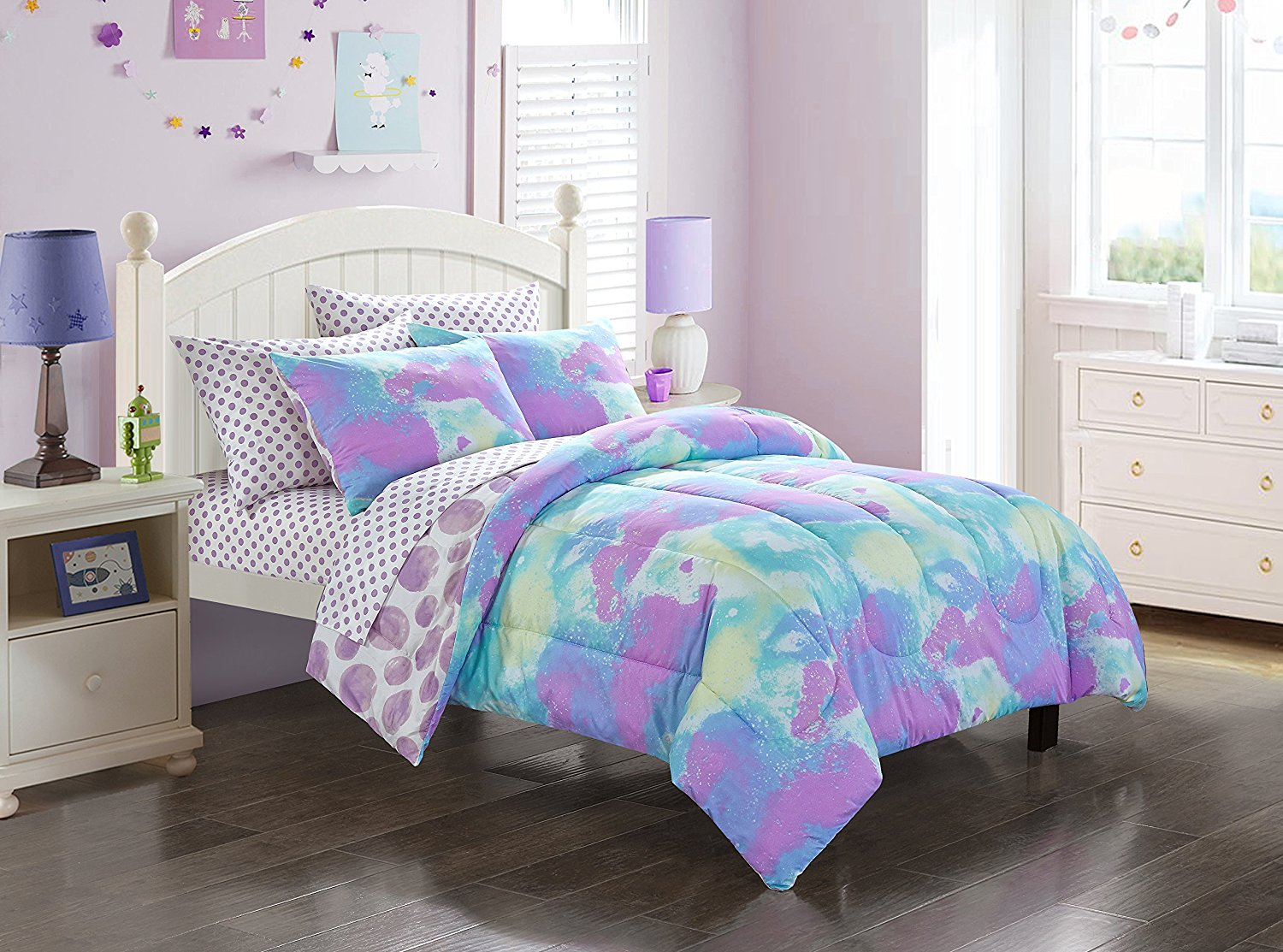 D.I.D. 7 Piece Kids Purple Teal Blue Tie Dye Comforter Set Full Sized, Colorful Paint Bedding Artistic Hippie Cloud Pattern Fun Bright Colors Watercolor Hippy Bohemian Art Themed Vibrant, Polyester
