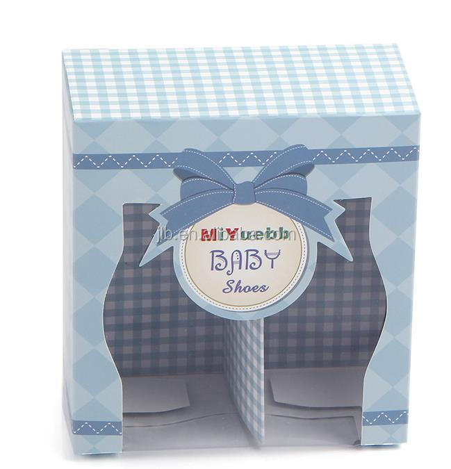 Fancy custom design baby shoes packaging paper box with a clear pvc window
