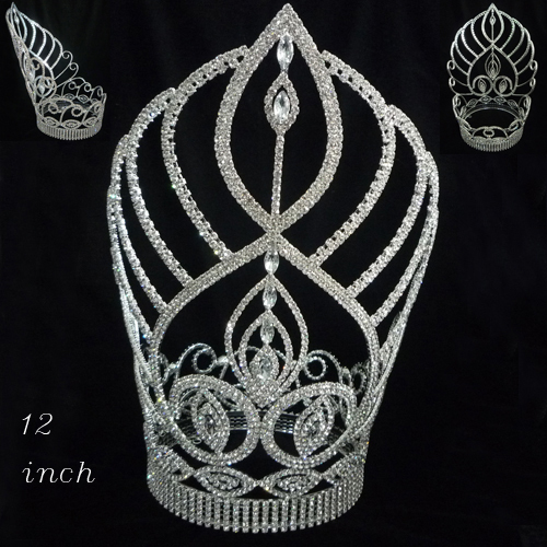 Fashion Metal Tall Pageant Crystal Full Round Crown Royal Queen ...