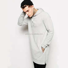 Custom Men Elongated Jumpers Plus size Hip Hop Long Sleeve Men Hoodies with Side Zippers