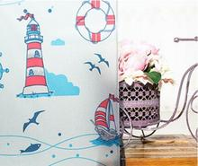 2017 New Cartoon Lighthouse Removable Decorative Kids Window Film