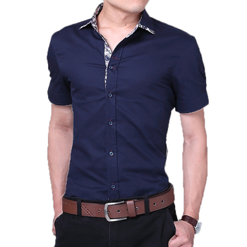 New Fashion quality flower print men's slim fit casual short sleeve shirts