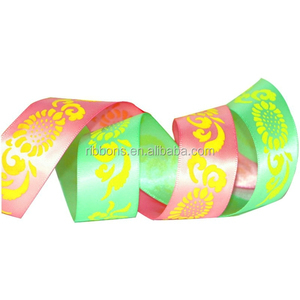 Custom Printed Grosgrain Decoration Satin Ribbon For Clothing