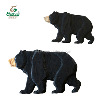 Factory price black bear wooden craft wall home decoration