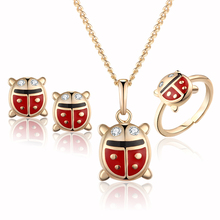 New Arrival Leaf Zircon 18K Gold Plated Girls Baby Jewelry Set Pendant Necklace Bracelet Ear Ring