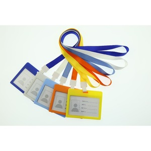 New Style Waterproof Type Clear Plastic Horizontal Name Tag Badge Id Card with Polyester Lanyard