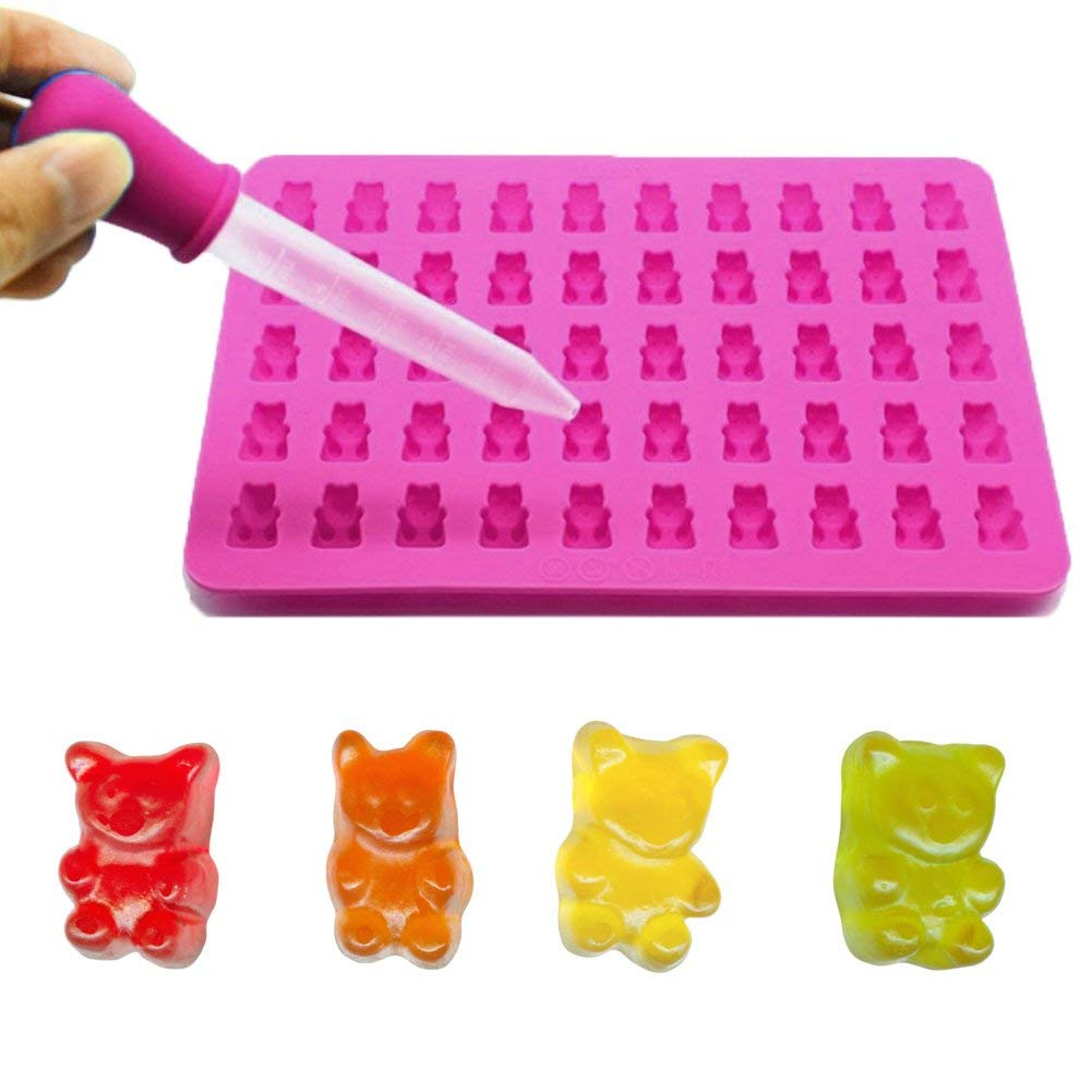 Gutian Silicone Gummy Bear Mold, Chocolate Mold, Gumdrop Jelly Mold, Candy Mold with a Bonus Dropper for Mints / Chocolates / Fudge / Ice Cube Making
