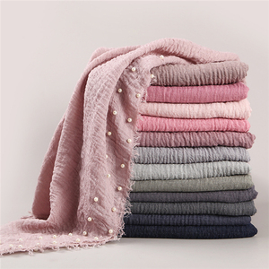 Hot Selling hijab wide women shawl stone Muslim crimp crinkle cotton Wrinkle beaded pearl Hijab scarf