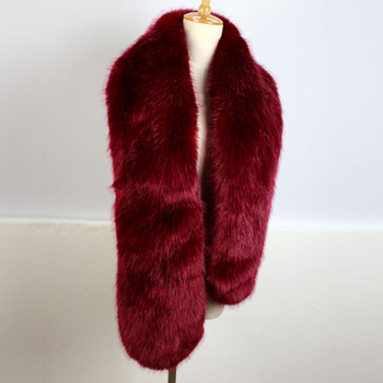 Wine red color big fox fur collar long style women winter fur scarf