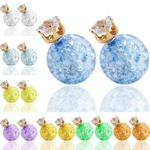 Wholesale Summer Hot Sales Candy Earring Accessory Multicolor Crack Glass Ball Crystal Bead Double Side Stud Earring For Lady