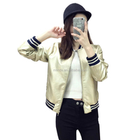 Women New Arrival Faux Leather Jacket Baseball Uniform Euro Style Crop Bomber Jacket Plus Size XL Sequin Jackets Custom