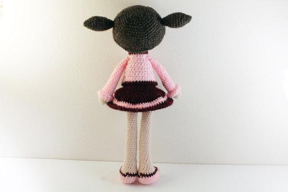 Amigurumi boneca bebê recheado meninas crochê chocalho brinquedo presente
