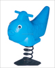 Outdoor playground equipment with kids blue fish spring rider toy