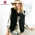 Sinofashion 2016 New Faux Fur waistcoat loose shawl vest Women Short Sleeveless Jackets