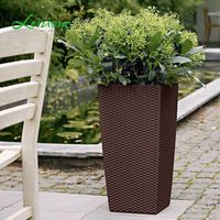 Rattan decorative outdoor indoor white wholesale square plastic big size tall large flower pots & planters garden pot
