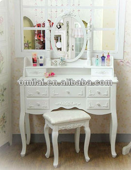 Wooden classic makeup table mirror with cabinet buy - Tavolo trucco make up ...