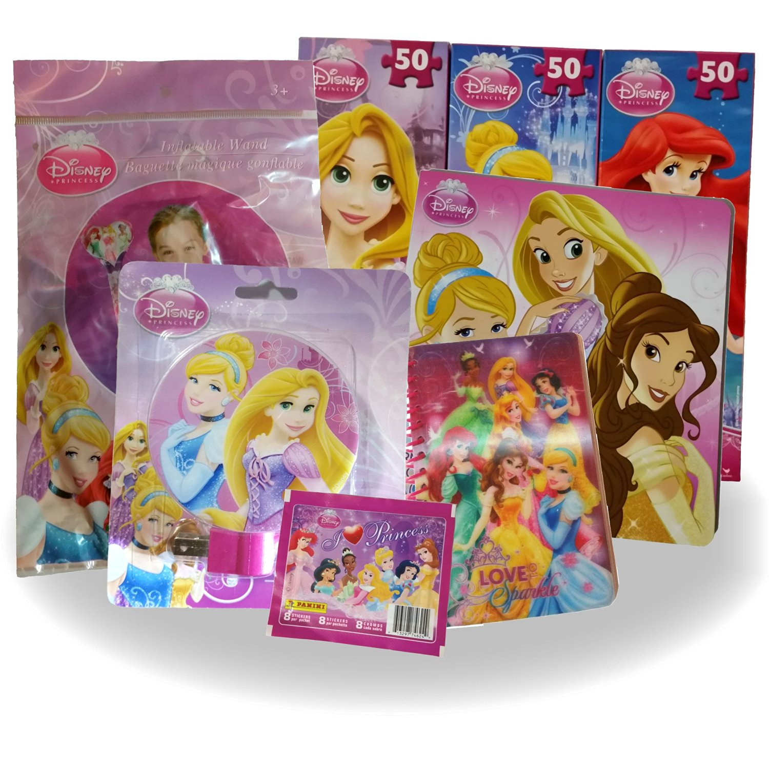Disney Princess 8 Piece Bundle Set - Includes Three 50-Piece Tower Puzzles, Princess Board Picture Book, Inflatable Magic Wand, Night Light, 3D Holographic Journal and Bonus Album Stickers Pack