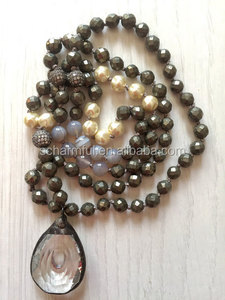 N00143 Pyrite Beaded Necklace Pearl Agate Boho Bead Long Necklace With Crystal Drop Pedant