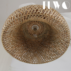 half oval shaped bamboo weaving hanging lamp