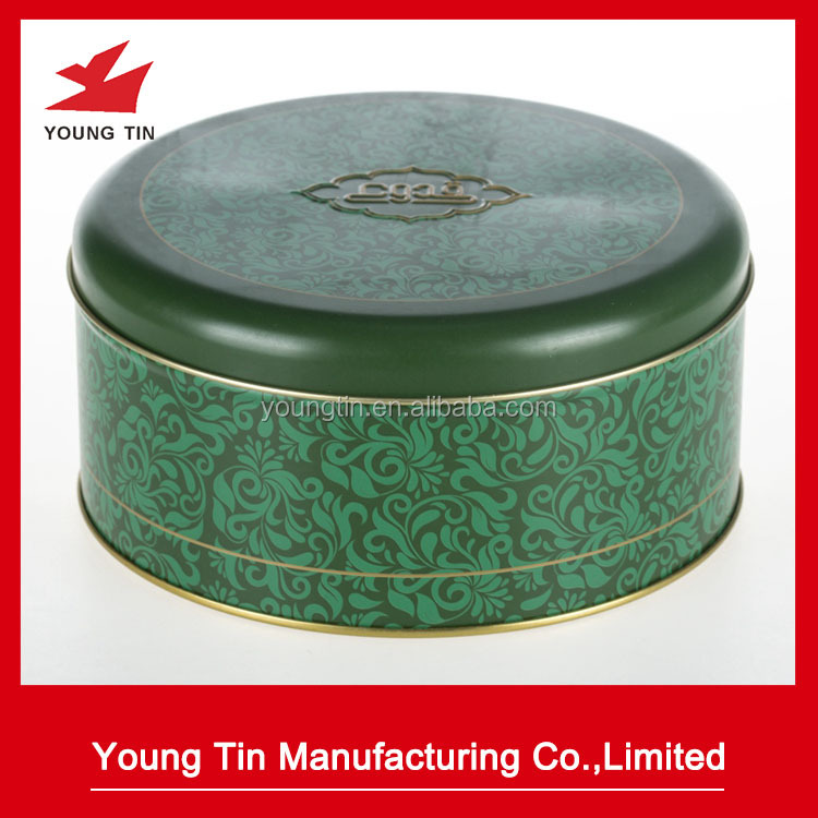 Lid embossed custom printed round cheap cookie container tin box