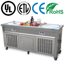 Double round pans fried ice cream roll machine with pedal controller